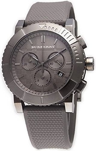 Burberry Trench SWISS LUXURY Men Unisex Women 42mm Round Stainless Steel Chronograph Watch Gray Silicone/Rubber Band Grey Date Dial BU2302