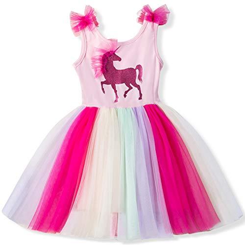Dress Front Dotted (TTYAOVO Girls' Unicorn Sleeveless Tops with Layered Rainbow Tutu Skirts Size 4-5 Years)