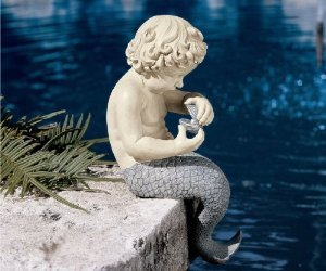 16″ Little Merman Sculpture Home Garden Poolside Statue