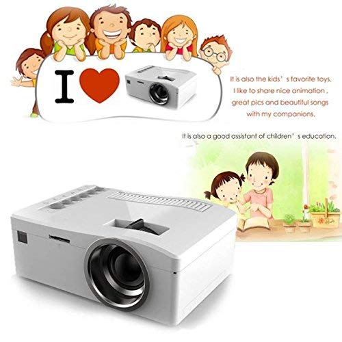 Mini Video Projectors,Brightness Video Projector,Remote Control,1080P HD LED Home MulitMedia Theater Cinema USB TV VGA SD HDMI Mini Projector LED Light Portable,Mini Projector (White)