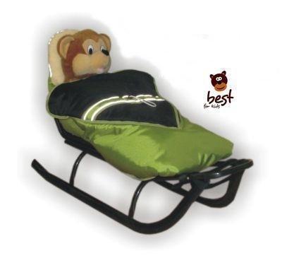 Schlitten für Kinder mit Fußsack, Rückenlehne und Schiebegriff - multifunktionell- Farbwahl NEU - EU Produkt