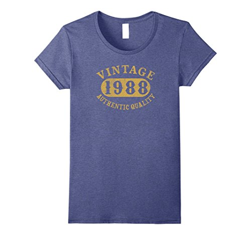 Womens 29 years old 29th B-day Birthday Gift Vintage 1988 T-Shirt Medium Heather Blue (Birthday Gifts For 29 Year Old Female)