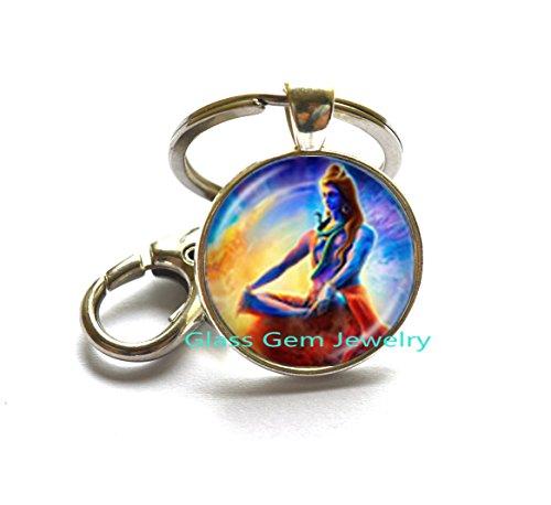 Lord Keychain (Lord Shiva Keychain Hindu God Buddha Keychain Handmade Buddhist Jewelry Charm Religious Key Ring Hinduism Keychain Jewelry,Q0227)