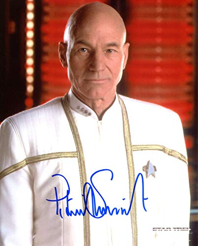 Patrick Stewart Signed / Autographed Star Trek The Next Generation 'TNG' 8x10 glossy photo portraying Jean Luc Picard. Includes FANEXPO Certificate of Authenticity and Proof. Entertainment Autograph Original. from Star League Sports