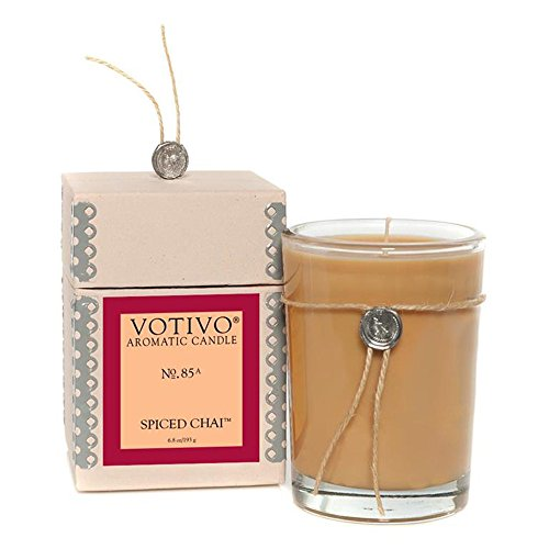Votivo Aromatic Candle, Spiced Chai, 50-60 Hours, 6.8 oz, 2.75