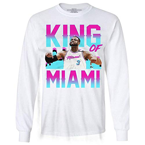 Basketball D-Wade King of Miami Jersey 3 Farewell Long Sleeve Tshirt White ()
