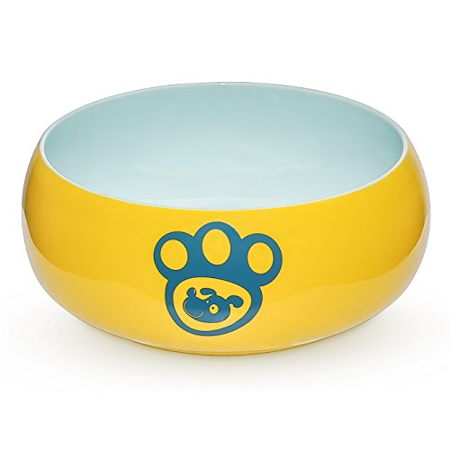 Heavy Ceramic (YHY Porcelain Dog Bowls Food Water, 55 oz Pet Feeder Bowl Delicate Paw Printed, Suitable Medium/Large Size Dog Dish, Yellow …)