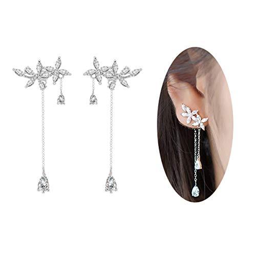 (FarryDream 925 Sterling Silver Leaves Wrap Earrings Crawler for Women Dainty Flowers Threader Tassel Chain)
