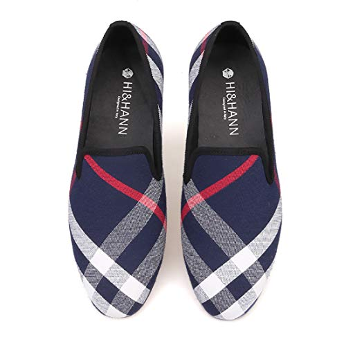 Plaid Loafers Blue HI Casual Shoes Slipper Men Smoking amp;HANN Canvas 's Hg75q