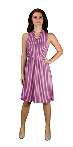 Peach Couture Vintage Pinstripe Button Up Sleeveless Shift Dress Fuchsia - Indie Vintage Inspired Clothing