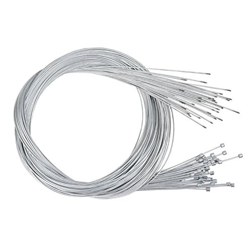 Star-Art 10 Pack 1.8m Length Bike Replaceable Cycling Shifter Cable and Silver Alloy Cable Cap End Tip Crimp Set