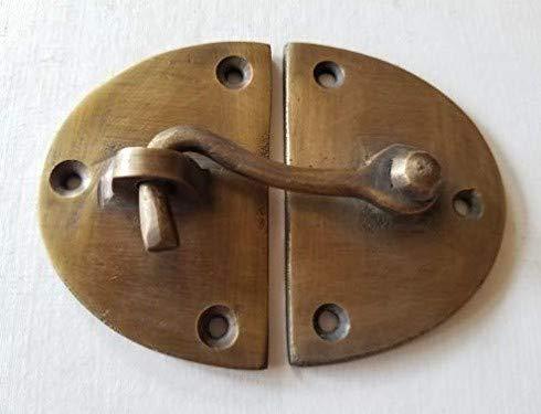 Vintage Cabin Cabinet Oval Door Latch Hook Solid Brass Hasp Lock Gate Window - Cabin Solid Brass