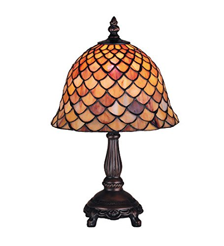 Tiffany Style Stained Glass Light Fishscale Mini Table Lamp - Fishscale Tiffany Ceiling Fan Light
