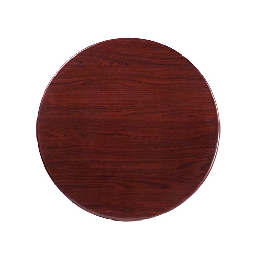 Flash Furniture 30'' Round High-Gloss Mahogany Resin Table Top with 2'' Thick Drop-Lip