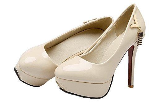 VogueZone009 Women's High-Heels Round Closed Toe Pumps-Shoes Beige Ts4FtBj