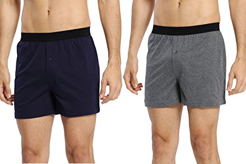 CYZ Mens 2-Pack 100% Cotton Knit Pajama Bottoms - Sleep/Lounge Shorts-EveningBlueCharcoal-L by CYZ Collection