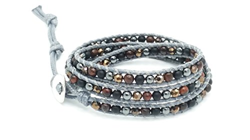 Garnet Leather (Hematite Garnet & Agate Leather Wrap Bracelet , 3 Wraps, 4mm/bead)