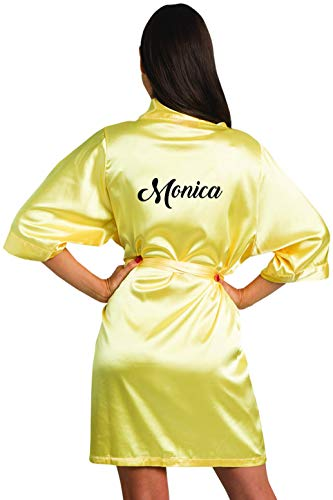 Girleo Women's Personalized Name, Custom Titles or Phrases-Bride Bridesmaid Mother of The Bride Maid of Honor Mother of The Groom Yellow Satin Robe S/M - Groom 7 Inch