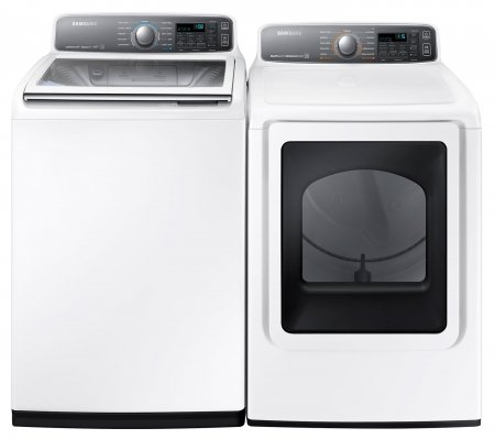"Samsung Appliance White Top Load Laundry Pair with WA48J7700AW 27"" Washer and DV48J7700EW 27"" Electric Dryer in..."
