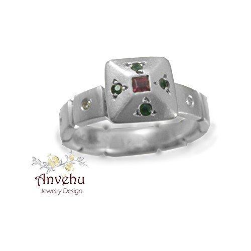 (Antique engagement ring 18k white gold engagement ring Ruby Emeralds diamonds ring Multy stone ring 14k Engagement ring Uniqe engagement ring Handmade engagement ring)