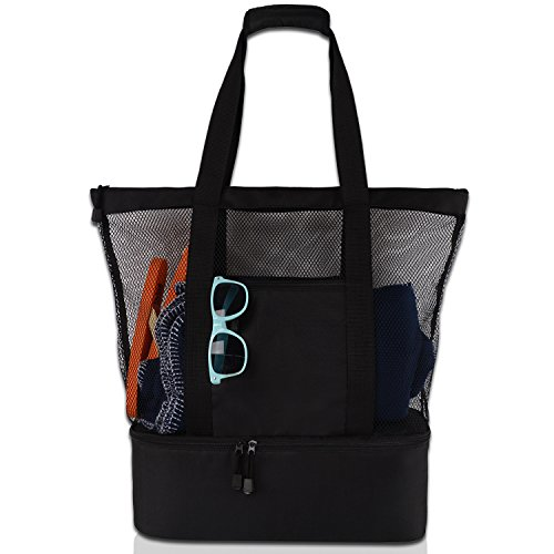Mesh Beach Tote Bag with Zipper Top and Insulated Picnic Cooler with a free waterproof pouch ()
