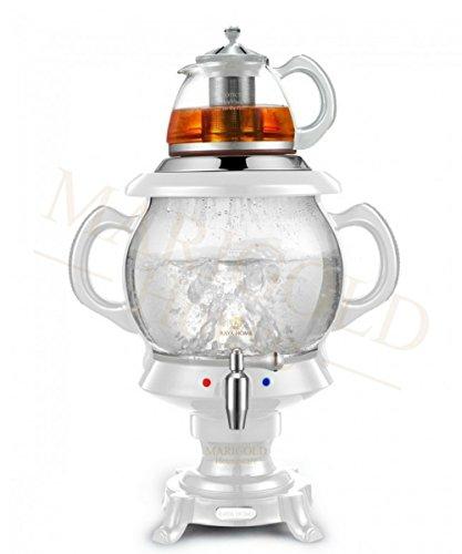 RAYA Electric Glass Samovar Tea Maker, White | 4.5 Liter/155 oz | Persian Samovar |Russian Samovar | Turkish Samovar ()