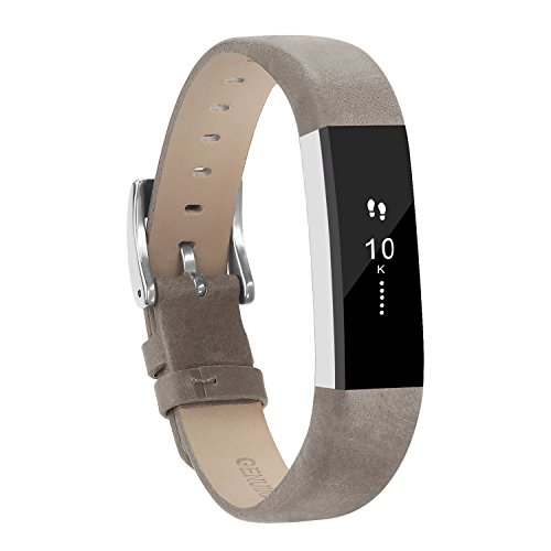 Adepoy Fitbit Alta Bands and Alta HR Bands, Leather Replacement Wrist Bands for Fitbit Alta HR and Fitbit Alta Mattegrey (Lavender Leather Band Watch)