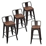 Andeworld Set of 4 Tolix-Style Counter Height Bar Stools Industrial Metal Bar Stools Indoor-Outdoor Low Back (26 Inch, Rusty with Wooden Top)