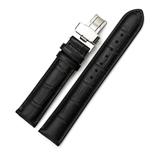 iStrap 20mm Cow Leather Watch Band Alligator Grain Padded Replacement Deployment Strap Black 20