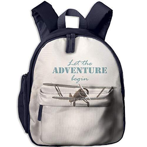 (Haixia Kid's Boys&Girls Bookbag with Pocket Adventure Let The Adventure Begin Inscription and Biplane Tropical Summer Vacation Decorative Cream Turquoise Tan)