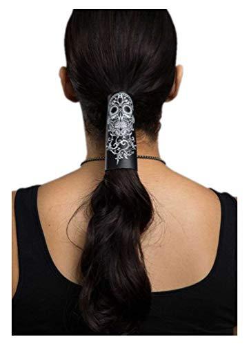 """Hair Glove 4"""" Black Leather Tribal Skull 31440"""