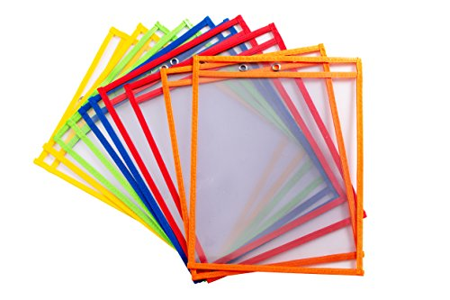 10 Dry Erase Pockets - Oversize 10'' x 13'' Pockets - Perfect for Classroom Organization - Reusable Dry Erase Pockets - Teaching Supplies - 10 PACK