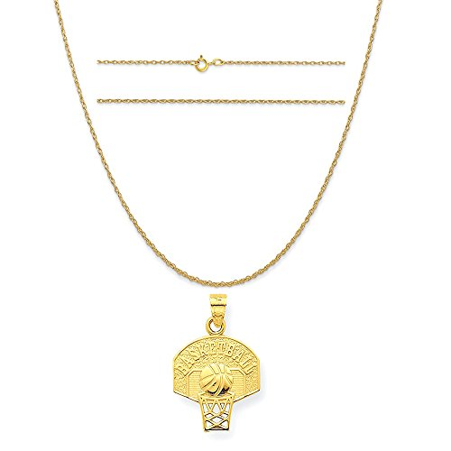 10k Yellow Gold Basketball Charm on a 14K Yellow Gold Carded Rope Chain Necklace, 18