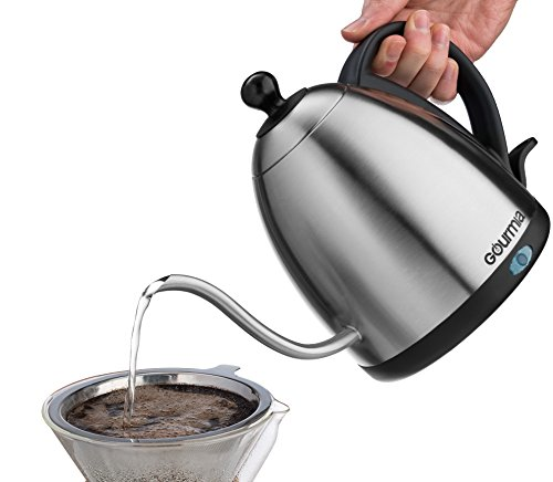 Retro Electric Kettle 1L Gooseneck Design for Pour Over Coffee or Tea - BPA Free Cordless Stainless Steel Maker w/Best Metal Goose-neck 1 Liter/QT Carafe & Hot Water Pot + Fast Brew Base by Gourmia