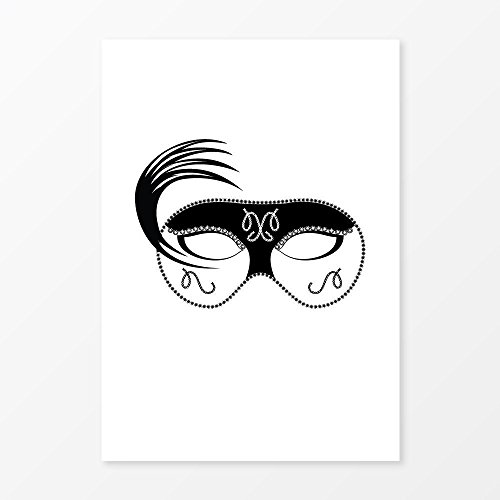 [Minimalist Black and White Mask, Size 5x7, 8x10, 11x14, A5, A4 or A3, Perfect Vanity Idea or Party Decor] (Venetian Mask Points)