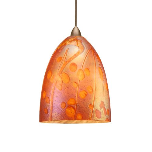 WAC Lighting MP-LED538-IR/DB Gingko 5W 12V 3500K LED Monopoint Pendant with Iridescent Art Glass Shade, Dark Bronze Finish