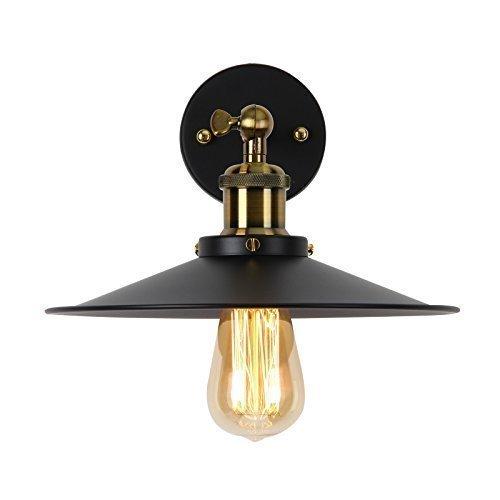 Unimall Industrie Wandlampe Metall Schwarz Retro Vintage und Antik Stil mit verstellbarem Kopf geeignet für Schlafzimmer Wohnzimmer Küche Esszimmer Treppenhaus Flur Eingang U-000003