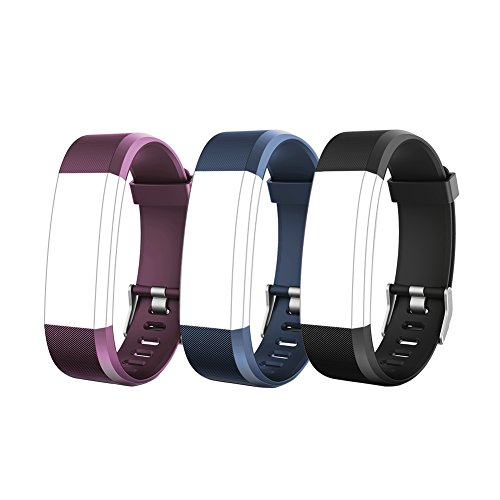 Letsfit ID115Plus HR Replacement Bands, Adjustable Accessory Bands for Letsfit Fitness Tracker ID115Plus HR, 3 Pack (Black, Blue, Purple)