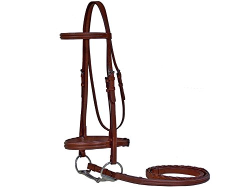 - Paris Tack Triple Stitched Heavy Duty Horse Bridle with Laced Reins for Warmblood or Oversize Horse