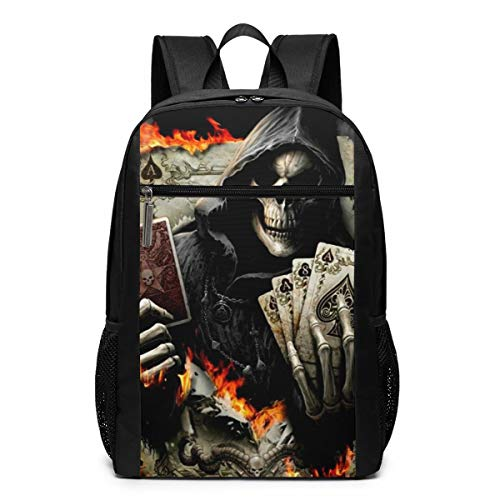 (Godzigod Skull Death Playing Cards School Backpack for Teen Girls Boys Book Bag Adjustable Shoulder Straps Zipper Laptop Bags Travel Backpacks for School Camping Hiking Casual Daypack)