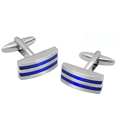 - Silver Color Rectangular Blue Stone Stripe Shirts Cufflinks Set for Men's Business Wedding Jewelry Gift