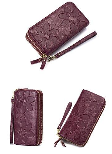 Capacità Di Lila Donna giallo Extra Bloccaggio Design Vintage Portafoglio Pelle Rfid Vera large YBx75wq