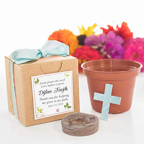 - Blue Cross Flower Pot Garden Gifts to Grow | Small Personalized Baptism, Christening, First Communion Party Favors, Religious Thank You Gifts | Set of 12 | Faith plants the seed