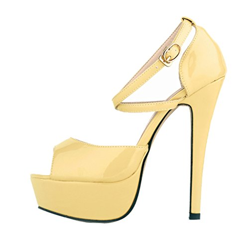Fashion On PU Toe Stiletto Women's Platform Sandal High Shoes sandals 5 Slip Heels Yellow Peep Patent inch 5 4XTxxd