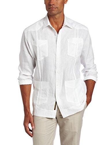 Cubavera Men's Long Sleeve 100% Linen Guayabera Shirt, Bright White, X-Large ()