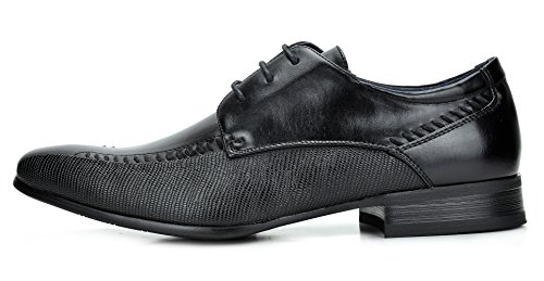 Bruno Marc Men's Gordon-01 Black Leather Lined Snipe Toe Dress Oxfords Shoes – 7 M US