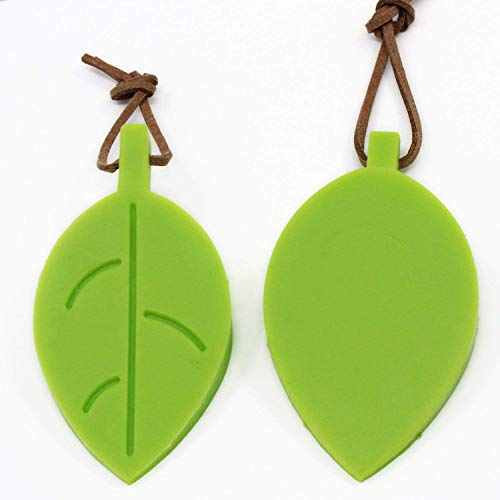 OCR Silicone Door Stopper Wedge Finger Protector, 4 Pcs Premium Cute Cartoon Leaf Style Flexible Silicone Window/Door Stops Set with Lanyard for Home Garden Office (Green)