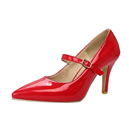YE Damen Mary Jane Lack Pumps Stiletto High Heels Sptiz mit Riemchen Elegant Schuhe Rot