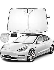 Autoamerics 1-Piece Windshield Sunshade Specially Designed for Tesla Model 3 and Y - Best Foldable Lightweight M3 Sun Shield - Car Front Window Heathshield Sun Shade - Premium Tesla Auto Accessories