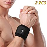 HiRui [2 PACK] Wrist Compression Strap and Wrist Brace Sport Wrist Support for Fitness, Weightlifting, Tendonitis, Carpal Tunnel Arthritis, Pain Relief-Wear Anywhere-Unisex,One Size Adjustable (Black)